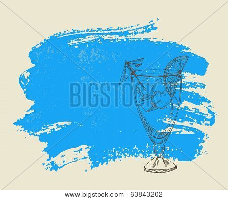 Tropical cocktail with ice on blue background