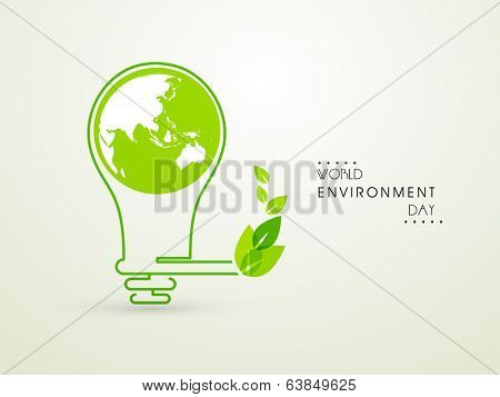 World Environment Day concept with idea for save the energy, mother earth globe in a electric bulb and green leaves.