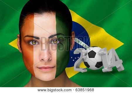 Composite image of ivory coast football fan in face with brasil flag poster