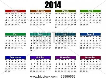 simple calendar 2014 mondays firts