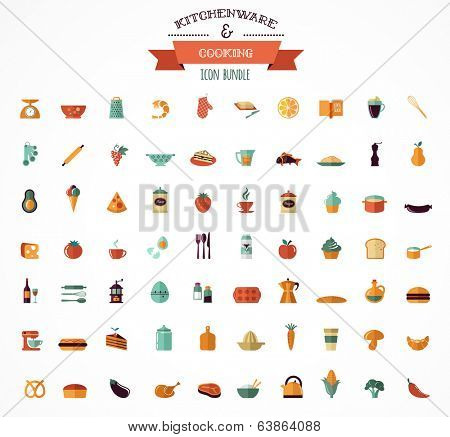 Cooking & Backing flat icons, Kitchenware vector elements