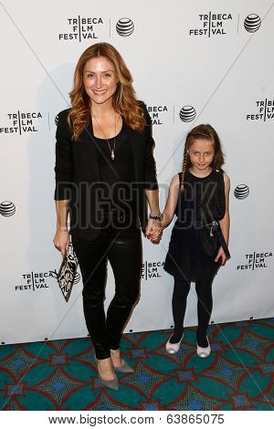 NEW YORK-APR 21: Actress Sasha Alexander and daughter Lucia attend the Shorts Program: Soul Survivors during the 2014 Tribeca Film Festival at AMC Loews Village 7 on April 21, 2014 in New York City.