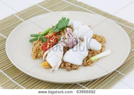 Thai Food Pad Thai, Stir-fried Rice Noodle With Squid