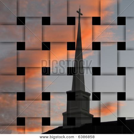 Church Steeple Silhouette Weave Effect