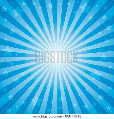 blue color burst with star on background.