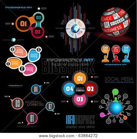 Collection of quality Infographics background. A lot of different templates ready to display your data.