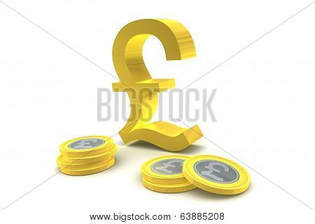 Pound Sterling Symbol And Coins