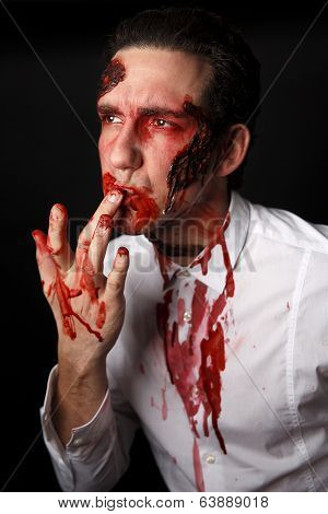 Psychopath With Bloody Fingers