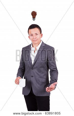 Young business with coffee bulb over his head