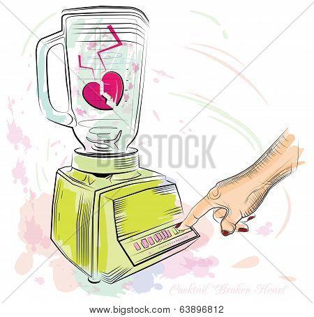 Cocktail Broken Heart. Vector Illustration-01.eps
