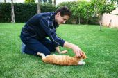 Teen and cat on green grass . poster