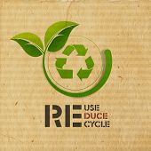 World Environment Day concept with illustration of recycle symbol and green leaves on grungy brown background.  poster