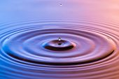 Water drop close up with concentric ripples on colourful blue and amber surface poster