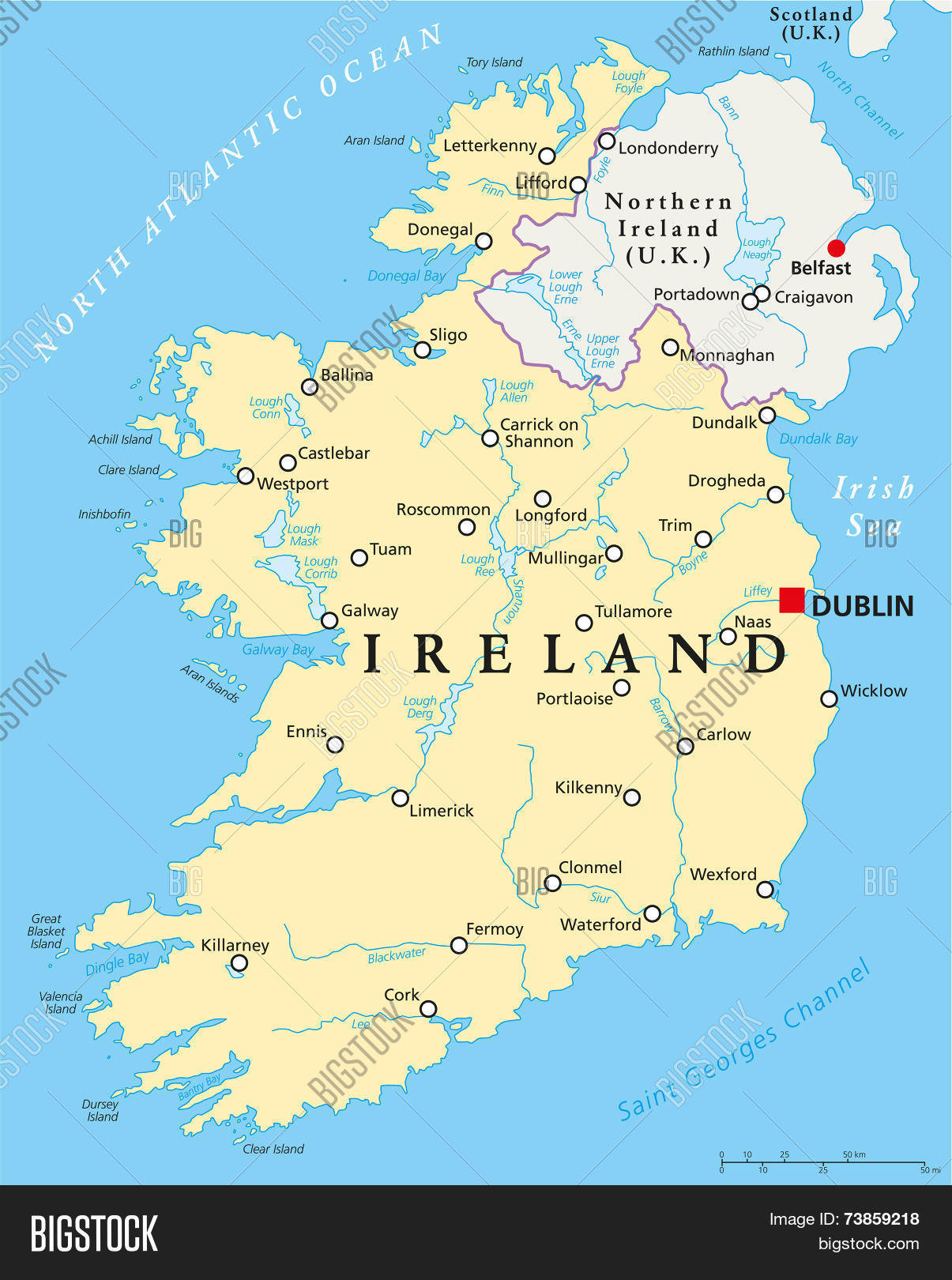 Map Of Ireland Lakes.Ireland Political Map Vector Photo Free Trial Bigstock