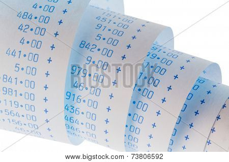 the computing strips of a calculator on a white background. symbol photo for controlling, accounting, taxation and finance