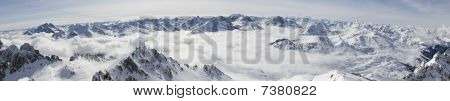Panorama Of Snowy Mountains