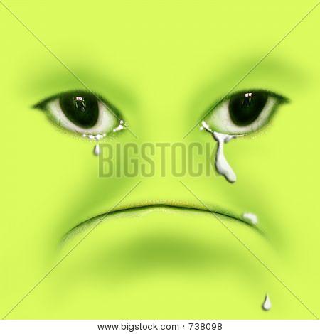 Green Frog Crying, Digital Illustration