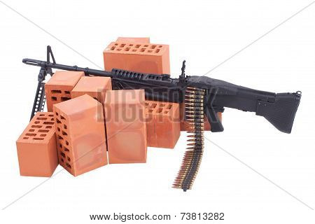 M60 machine gun concept isolated on white poster