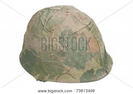 US Army M1 helmet with mitchell pattern camouflage cover Vietnam war period poster