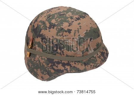 Us Marines Kevlar Helmet With Camouflage Cover And Ammo Amulet