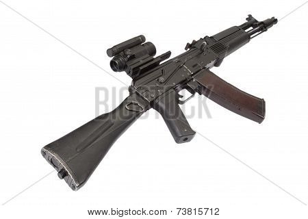 modern russian assault rifle isolated on white poster