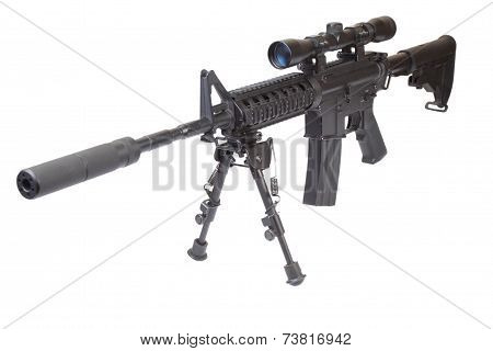 Rifle M4 With Bipod Isolated On A White Background