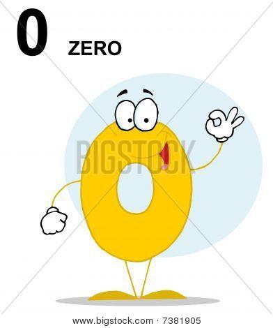 freundliche gelb Nummer 0 NULL Kerl mit Text