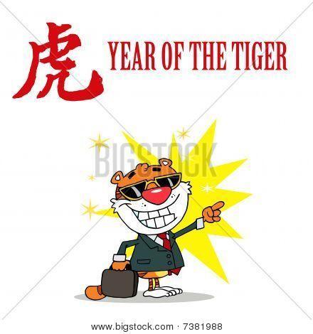 Business Tiger mit einem Jahr die Tiger chinesische Symbol und Text zeigen