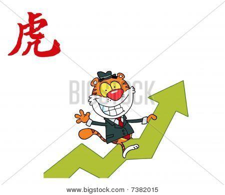 erfolgreiches Geschäft Tiger auf einen Gewinn Pfeil, mit einem Jahr der chinesische Tiger-Symbol