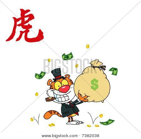 Rich holding Geldsäckchen mit einem Jahr der chinesischen Symbol Tiger tiger