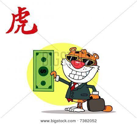 Tiger hält dollar