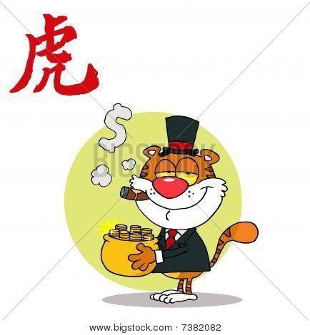 Happy Tiger mit Goldtopf, Hintergrund