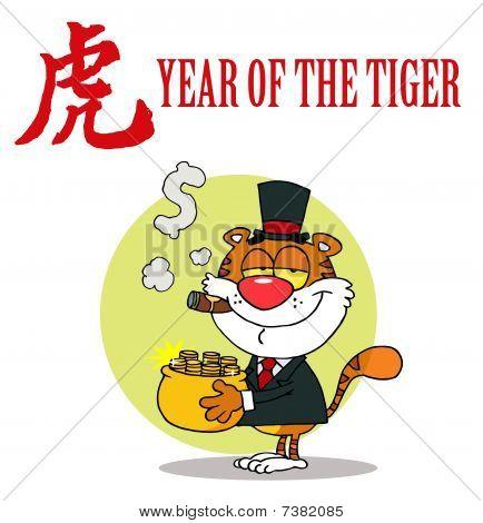 Happy Tiger mit Topf voll gold