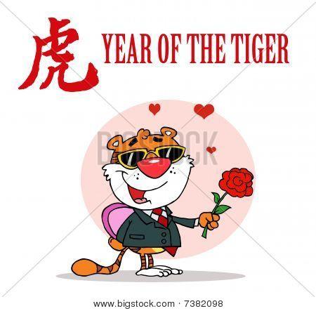 romantische Tiger mit Blumen und Geschenke