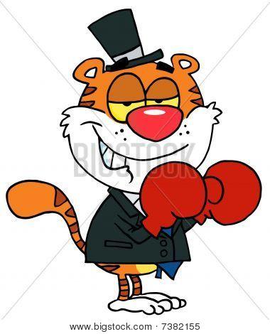 Cartoons Charakter freudig Tiger mit Boxhandschuhen