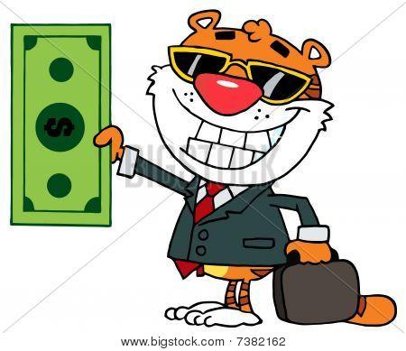 Zeichentrickfigur glücklich Tiger hält Dollar ÐÃ'nd Business Aktenmappe
