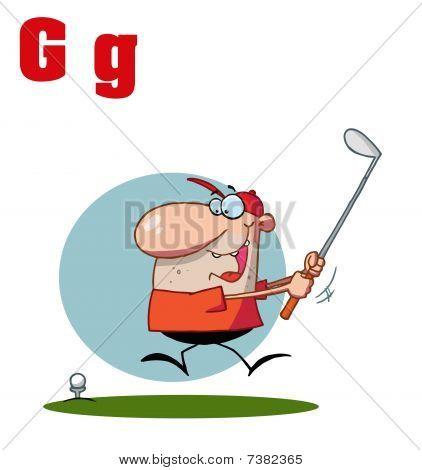 männlich Golfer mit Buchstaben g