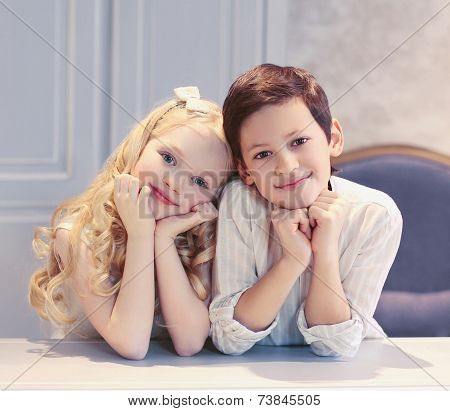 Cute Happy Kids Boy And Girl