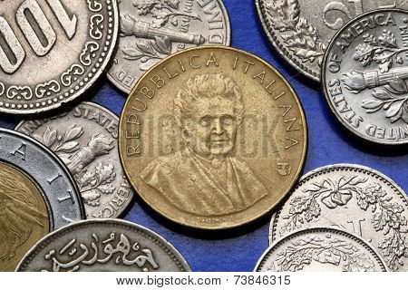 Coins of Italy. Italian physician and educator Maria Montessori depicted in the old Italian 200 lira coin.