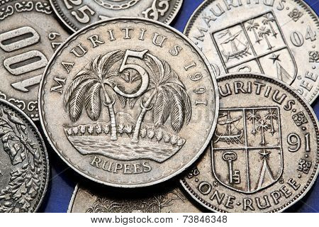 Coins of Mauritius. Two palm trees and Mauritian national coat of arms depicted in the Mauritian rupee coins.