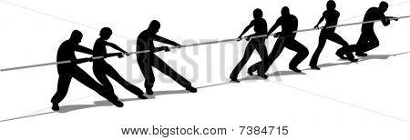 tug-of-war people silhouette vector