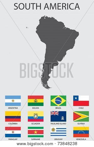 Set Of Infographic Elements For The Country Of Southamerica