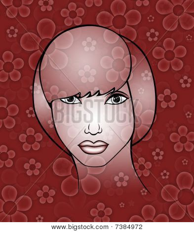 pattern  in the manner of  face a girl poster
