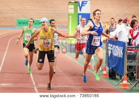 VIENNA, AUSTRIA - JANUARY 28, 2014: Patrick Oehler (#427 Germany) places 6th in the men's 800m event in an indoor track and field meeting.