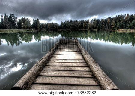 Bridge on lake - dark