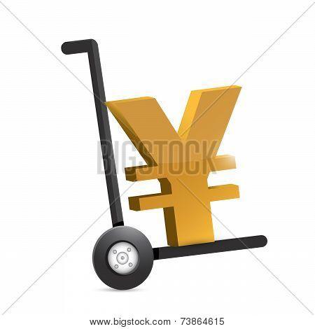 Yen Symbol On A Dolly. Illustration