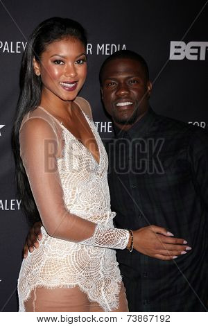 LOS ANGELES - OCT 14:  Eniko Parrish, Kevin Hart at the Real Husbands of Hollywood Screening at Paley Center For Media on October 14, 2014 in Beverly Hills, CA
