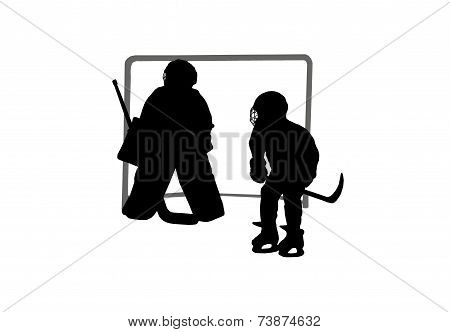 Goalie And Hockey Player Silhouettes On A Background Of The Gate