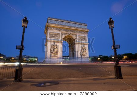 The Arc De Triomphe At Dusk