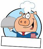 Pig Waiter Serving A Platter With A Text Box poster